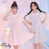 洋裝 假兩件娃娃領吊帶印花短袖洋裝-Ruby s 露比午茶