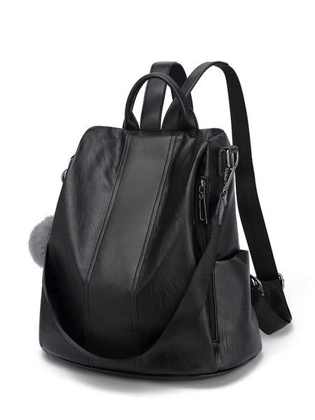 韓版軟皮防盜雙肩包女包包時尚百搭簡約休閒兩用單肩背包