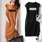 夏季新款短袖女裝流行款寬鬆顯瘦字母無袖T恤連身裙中長款仙女裙 韓美e站