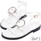 Ann'S率性街頭風-銀色大圓扣三帶平底涼鞋-白
