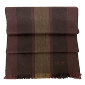 【COACH】經典LOGO羊毛混喀什米爾直紋圍巾(深紅/咖)