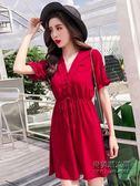 性感漏鎖骨v領紅色連身裙矮個子小a字型顯瘦收腰系帶泰國風情裙子