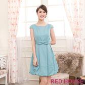 【RED HOUSE-蕾赫斯】純色蝴蝶結燈籠裙(淺藍色)