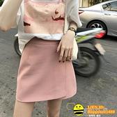 早春純色半身裙A字裙短裙 韓版高腰顯瘦後拉鏈通勤西裝裙女【happybee】