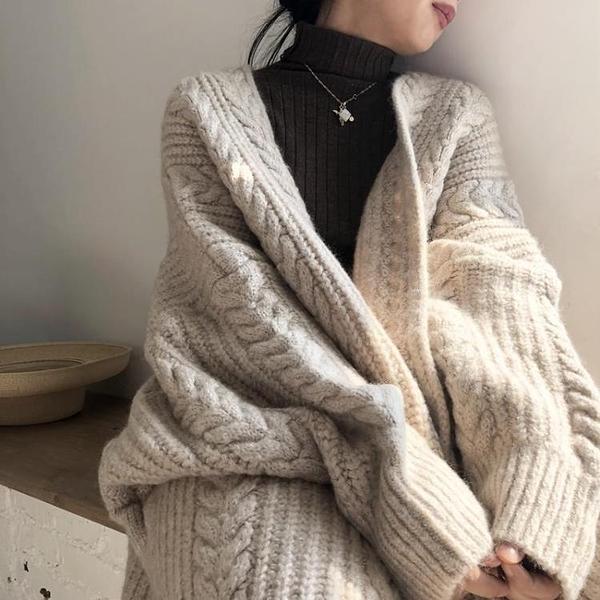 毛衣外套 針織開衫女春外穿復古寬松慵懶過膝加厚中長款麻花毛衣外套【快速出貨八折特惠】