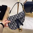 ■專櫃99折■ 全新真品■Dior 迷你藍色 Oblique 緹花馬鞍包