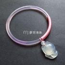 玉鐲 天然瑪瑙手鐲少女款粉色細條冰種玉髓...