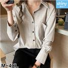 【V3003】shiny藍格子-復古港味‧翻領口袋長袖襯衫上衣