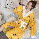 浴袍珊瑚絨睡衣睡袍女秋冬季長款加厚法蘭絨浴袍可外穿睡裙網紅款可愛-『美人季』