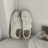 魔術貼小白鞋女百搭平底可愛日系風帆布鞋板鞋【小酒窩服飾】