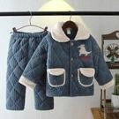 兒童睡衣 兒童睡衣三層加厚夾棉寶寶男孩女童大童珊瑚絨保暖家居服套裝【快速出貨八折下殺】