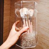 化妝品收納架 亞克力化妝刷收納桶美妝刷收納盒筆刷筒桌面收納盒防塵有蓋透明 - 歐美韓