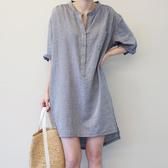 襯衫洋裝 夏季新款棉麻條紋襯衫連衣裙中長款五分袖設計感小眾中袖女【星時代女王】