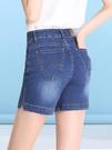 薄款高腰牛仔短褲女熱褲夏季修身顯瘦彈力中年大碼胖mm三分四分褲