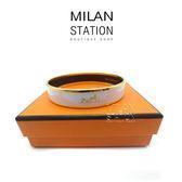 【台中米蘭站】HERMES 金框 白色陶瓷 手環