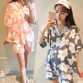 【現貨】日式和服睡衣女夏季棉質短袖短褲可愛甜美正韓薄款全棉家居服套裝【優兒寶貝】