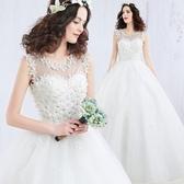 一字肩花瓣復古韓式顯瘦森系簡約齊地出門紗新娘婚紗禮服2018新款
