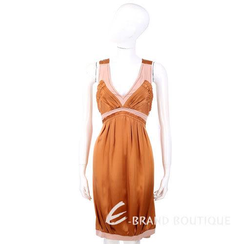 PHILOSOPHY 粉/咖色雙材質拼接無袖洋裝 0720153-17