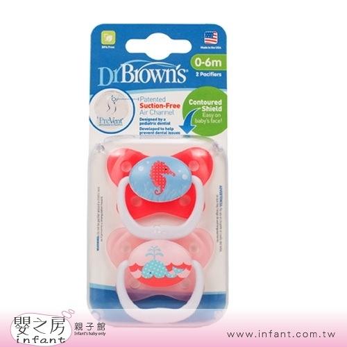 【嬰之房】Dr. Brown s布朗博士 PreVent功能性安撫奶嘴 0-6M(2入-粉)