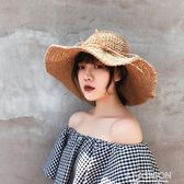 帽子女夏小清新鉤針草帽韓版百搭可折疊遮陽帽海邊度假沙灘太陽帽-ifashion