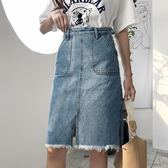 牛仔裙 大碼 胖mm高腰一步牛仔裙女韓版中長款包臀半身裙顯瘦A字短裙 快速出貨