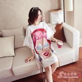 夏季新品卡通印花寬鬆大尺碼T恤女短袖中長版荷葉袖休閒上衣打底衫 免運商品