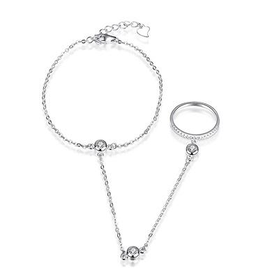 925純銀手鍊-鑲鑽時尚連接戒指生日情人節禮物女飾品73la5【時尚巴黎】