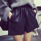 皮短褲 新款皮短褲女秋冬PU外穿皮褲寬鬆顯瘦A字寬管褲打底休閒靴褲-Ballet朵朵