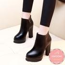 高跟短靴 素面皮革 騎士靴 中靴 踝靴*...
