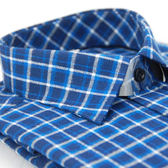 【金‧安德森】藍白格紋保暖窄版長袖襯衫