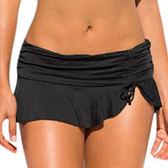 泳褲 素色 荷葉邊 抓皺 綁帶 大尺碼 泳裝 泳褲 褲裙 L-2XL【LC410250】 ENTER  06/07