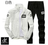 韓版立領休閒加絨運動套裝 白《P5017》