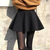 2020年秋冬時尚新款黑色高腰毛呢半身裙女短裙a字蓬蓬百褶裙冬裙 雙十一全館免運