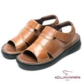 CUMAR 舒適真皮‧經典魔術貼舒適皮涼鞋-棕色