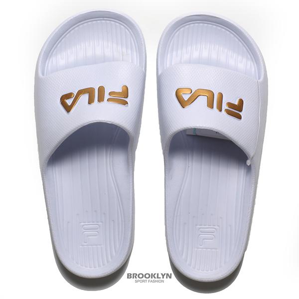 FILA (偏小建議大半號) 白金 英文LOGO 基本款 防水 拖鞋 男女 (布魯克林) 4S355T119