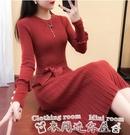 紅色洋裝連身裙女秋冬2020新款加絨寬鬆針織長款毛衣裙過膝打底裙加厚長裙 衣間迷你屋