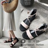 涼鞋/夏季韓版平底新款學生女鞋休閒百搭交叉綁帶復古露趾低跟「歐洲站」