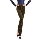 直筒褲 2020休閑褲女秋冬新款彈力燈芯絨條絨直筒褲加厚保暖純色高腰長褲