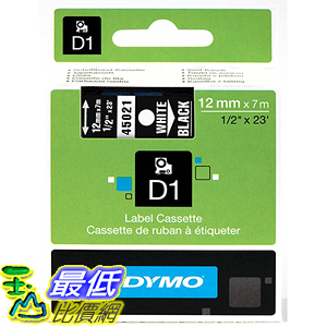 [美國直購] DYMO 45021 High-Performance Permanent Self-Adhesive D1 Polyester Tape for Label Makers 1/2 inch x 23 標籤紙
