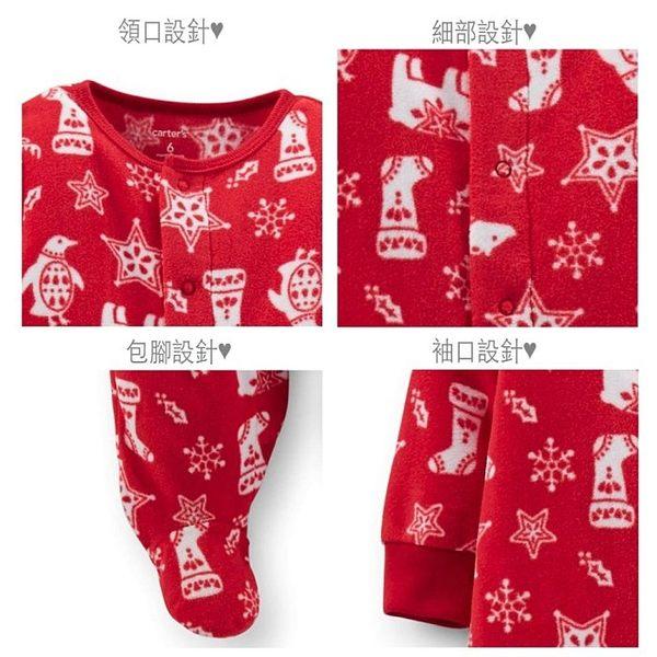 【美國Carter's】長袖包腳保暖連身衣 - 歡樂耶誕紅系列 115A232