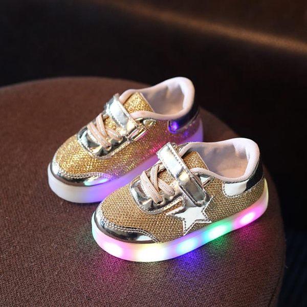 兒童發光鞋帶閃光燈女寶寶鞋子LED發光鞋女童鞋休閒舒適1-2-3歲半兒童運動鞋伊芙莎旗艦店