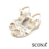SCONA 全真皮 雷射雕花楔型涼鞋 米白色 22534-1