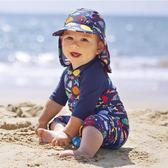 兒童泳衣男童英國保暖兒童防曬泳衣女童寶寶連體嬰兒游泳套裝速干