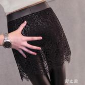 中大尺碼裙褲 打底褲女外穿加絨皮褲女秋冬蕾絲裙褲假兩件黑色 nm14218【野之旅】