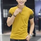 夏季男士短袖T恤修身純棉半袖V領polo衫印花青少年學生潮男裝衣服『潮流世家』