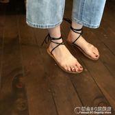 韓國 百搭透明雙杠圓頭平底涼鞋綁帶沙灘羅馬鞋女鞋夏 概念3C旗艦店