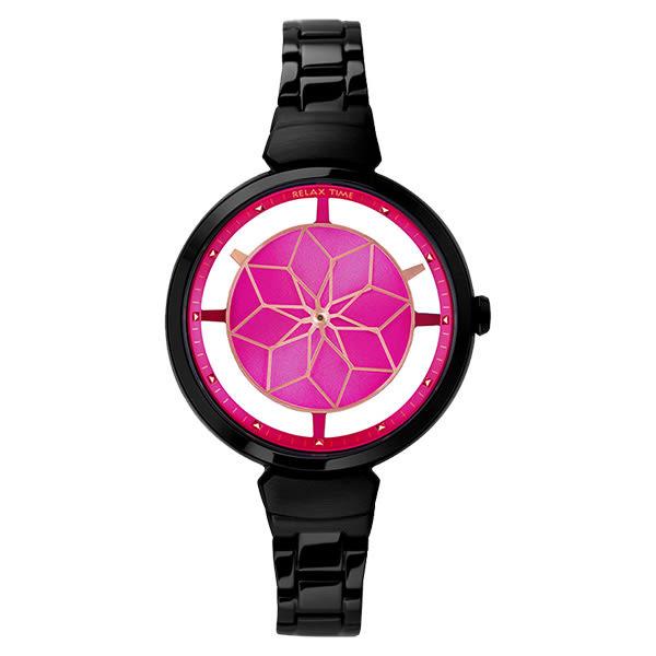 Relax Time 聖誕部落客推薦錶款 簡約 鏤空 RT-63-7 女錶 桃紅面/黑/36mm