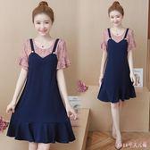 大碼女裝短袖假兩件洋裝夏裝新款A字連身裙胖mm加肥遮肚洋氣減齡 DR16710【Rose中大尺碼】