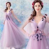 M-天使嫁衣 新潮仙氣 立體花朵紫色新娘婚紗敬酒服晚宴年會禮服2390