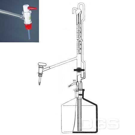 《witeg》自動滴定管 AS級 附迴流 PTFE活栓 Buret, Automatic Zero, with NS-PTFE-Plug, PTFE Stopcock, Schellbach